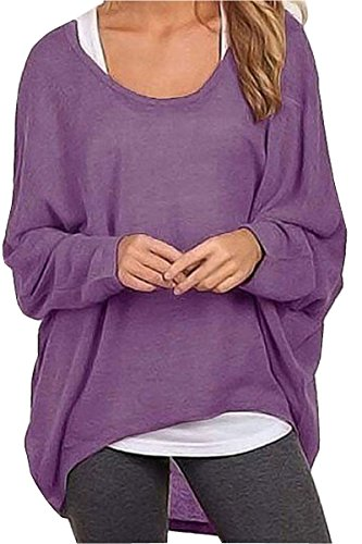 - UGET Women's Sweater Casual Oversized Baggy Off-Shoulder Shirts Batwing Sleeve Pullover Shirts Tops Asia L Purple