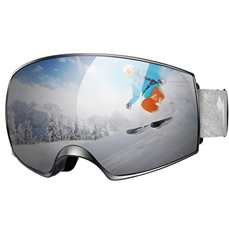 9bce4a1bca35 WhiteFang Ski Goggles PRO Snow Goggles Magnet Dual Layers Lens Over Glasses  Design Anti-Fog