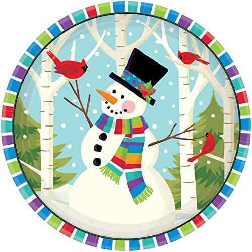 (Smiling Snowman Round Plates, 360)