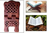 valentines day gifts, Hand Carved 11.50 Inch Cross Net Design Wooden Book Holder, Receipie Book Holder, Wooden Folding Reading Bible / Geeta / Quran Book Holder, Reading Religious Books