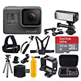 GoPro HERO5 Black + SanDisk Ultra 32GB Micro SDHC Memory Card + Hard Case + Chest & Head Strap + Flexible Tripod + Extendable Monopod + Floating Handle + LED Video Light + Great Value Accessory Bundle