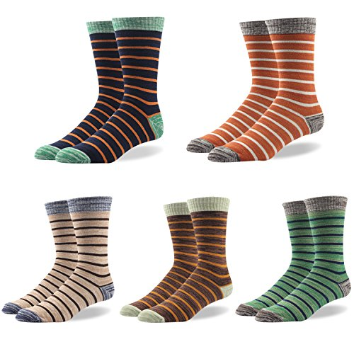 Mens Dress Socks Striped Pattern Formal Business Mid Calf- Toe Heel REINFORCED Gift Boxed (BSK04X-5 Pairs Striped classic, US Men Size 10.5-14/EU 44.5-49)