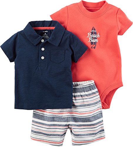 Carters Baby Boys 3-pc. Beach Bum Layette Set 9 Months Navy blue/red