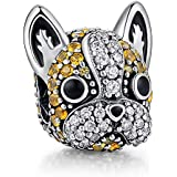 ANGELFLY 925 Sterling Silver French Bulldog Charm Puppy Pet Dog Animal Charms for Dog Lovers Bracelet (Sparkly Bulldog Charm)
