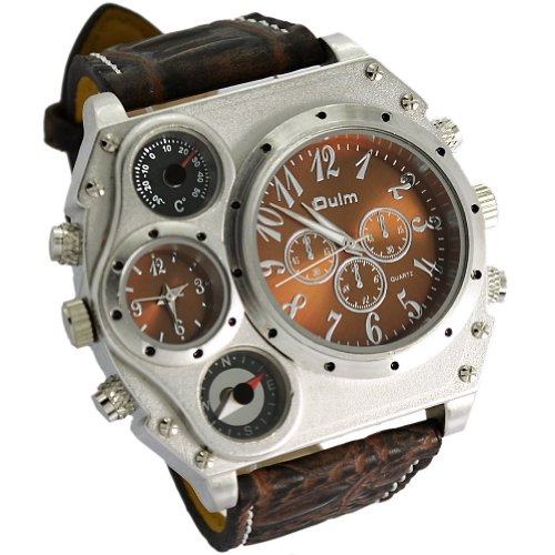 Oulm Compass Outdoor Sports Watches Analog Dark Brown Leather Strap Four Sub-dials Men Watch