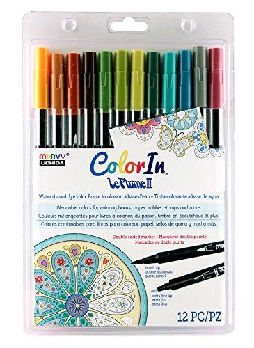 Tip Marker America Double (Uchida 1122-12L 12 Piece Colorin Le Plume II Coloring Book Pens, Natural)