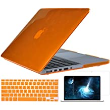"""TOPIDEAL 3in1 Crystal Hard Shell Case Cover for Apple 13.3""""/ 13-inch MacBook Pro with Retina Display Model A1425 /A1502 (NO CD-ROM Drive) + Keyboard Cover + Screen Protector - Orange"""