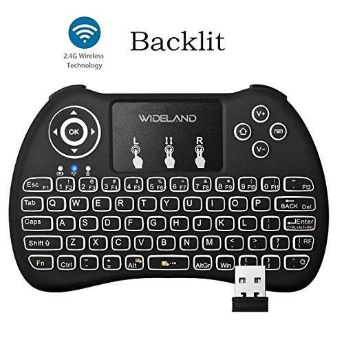 Wideland Backlit Mini 2.4GHz Wireless Touchpad Keyboard for PC, Pad, Google Android TV Box, Smart TV, HTPC, IPTV,Raspberry pi 3, XBOX 360, PS3 (Media Keyboard With Touchpad)