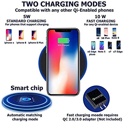 5W Compatible iPhone XS MAX XR X 8 Plus and All Qi-Enabled Devices S8 Wireless Charging Stand RAVPower 2 Coils Qi Certified Fast Wireless Charger 10W Qi for Galaxy S9 S9+ S7 /& Note 8