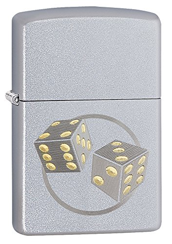 Pocket Lighter Chrome - Zippo Dice Pocket Lighter, Satin Chrome
