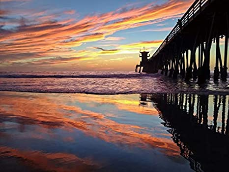 Amazon.com: Colorful Sunset at the Imperial Beach Pier, San Diego,  California Photography A-90921 (9x12 Fine Art Print, Home Wall Decor  Artwork Poster): Posters & Prints
