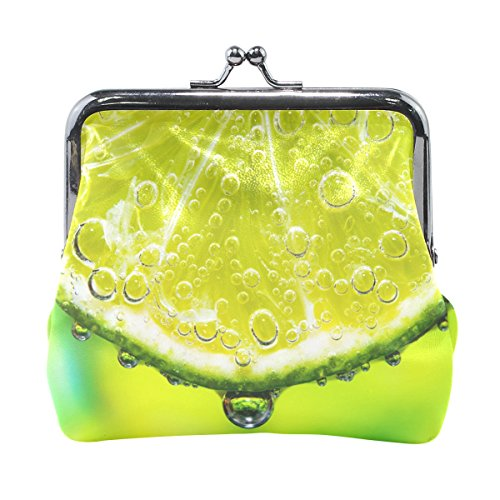 Holisaky Lime Slice With Soda In Glass leather Wallet Clasp Coin Purse Clutch Handbag