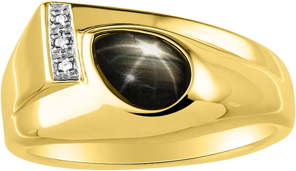 RYLOS Timeless Pear Shape Cabochone Color Stone Gemstone /& Natural Diamond Ring Set in 14K Yellow Gold Plated Silver