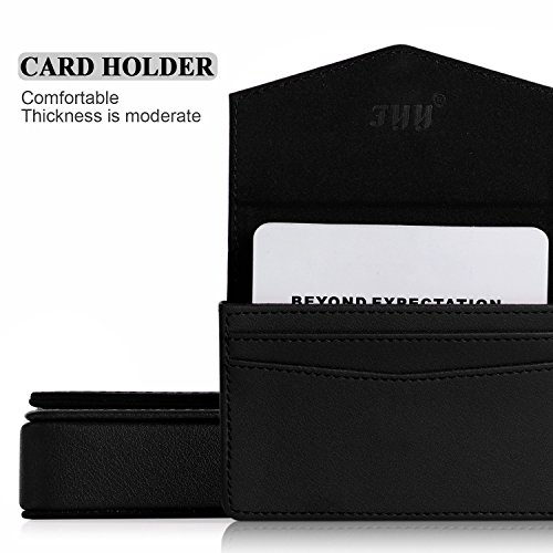 Business card holder, FYY 100% Handmade Premium Leather Business Name Card Case Universal Card Holder with Magnetic Closure (Hold 30 pics of cards) Black Photo #5