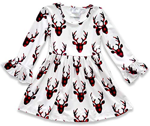 (BluNight Collection Little Girl Dress Kids Reindeer Christmas Holiday Party Flower Girl Dress Off White 5 L)