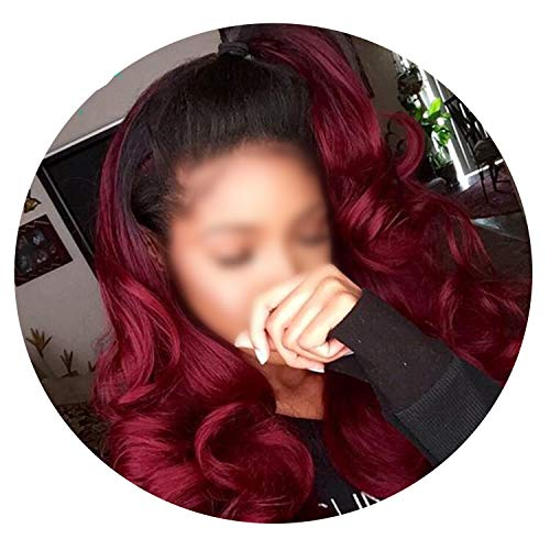Human Hair Wigs Lace Frontal Body Wave Hair Wigs With Baby Hair Burgundy Remy Wig,14inches
