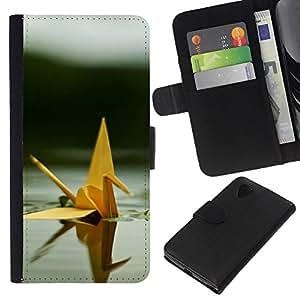 EJOY---La carpeta del tirón la caja de cuero de alta calidad de la PU Caso protector / LG Nexus 5 D820 D821 / --Origami lindo cisne