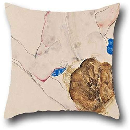 18 X 18 Inches / 45 By 45 Cm Oil Painting Egon Schiele - Nude With Blue Stockings, Bending Forward Pillowcase,both Sides Is Fit For Festival,lover,chair,office,drawing Room,couch
