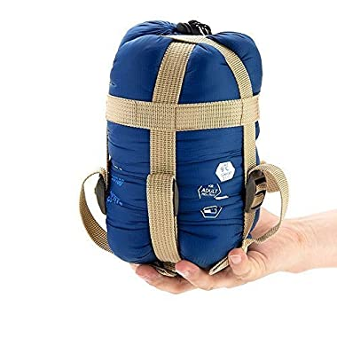 ECOOPRO Warm Weather Sleeping Bag - Outdoor Camping, Backpacking & Hiking - Fit for Kids, Teens and Adults - Spring, Summer & Fall - Lightweight, Waterproof & Compact Dark Blue