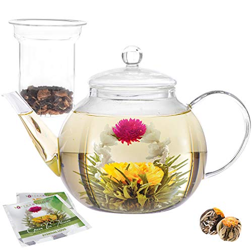Teabloom Teapot Gift Set – Stovetop Safe Glass Teapot with 2 Blooming Teas & Removable Glass Infuser for Loose Leaf Tea – 40 oz /1200 ml (Holds 6-8 Cups)