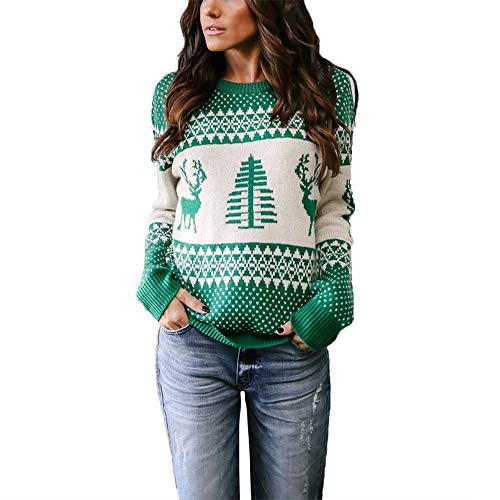 Exlura Patterns Reindeer Ugly Christmas Sweater Pullover Cardigan -