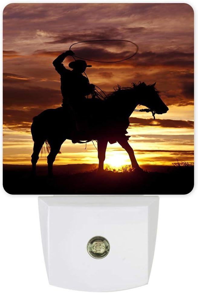 Cowboy Ride Horse Plug-in LED Night Lights Western Theme Auto Dusk-to-Dawn Sensor for Bedroom, Bathroom, Kitchen, Nursery, Hallway, Stairs, Wall Home Decor