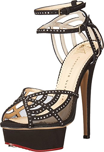 charlotte olympia Women's Octavia, Black Suede/Crystals, 39.5 M