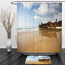 Vipsung Shower Curtain And Ground MatOcean Decor Antique Rusty Pirate Ship Wreck on the Coast in Caribbean Island Pacific Sea View MultiShower Curtain Set with Bath Mats Rugs