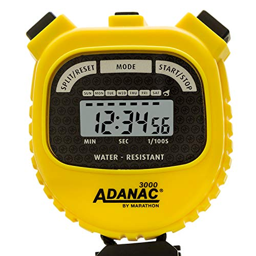 Marathon Adanac 3000 Digital Sports Stopwatch Timer with Extra Large Display and Buttons, Water Resistant- Yellow (Stopwatch Handheld)