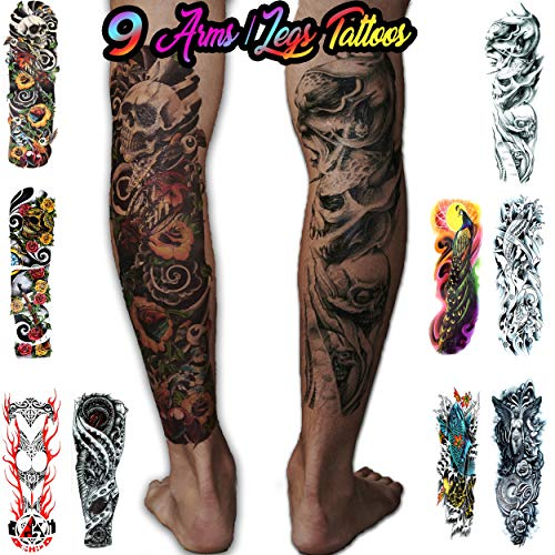 Leg Tattoo Sleeves - 8 Temporary Tattoos Full Arm and Leg Long Sleeve Tattoo Body Art - For Adults and Teens (Colorful)