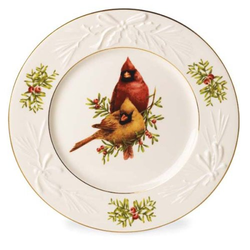 Lenox Winter Greetings 9 Red Cardinal Pair Accent Plate (...