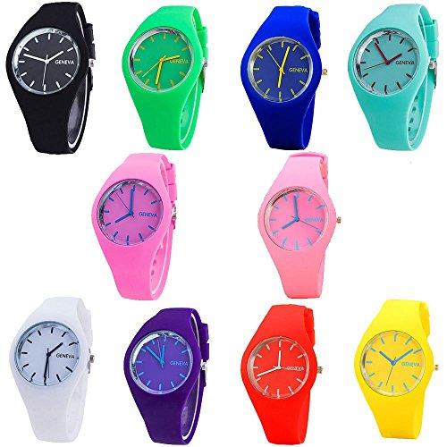 (CdyBox Men Women Silicone Band Wristwatches Jelly Colorful Kids Girls Boys Wrist Watch Analog Sports Watch Wholesale (10 Pack) )