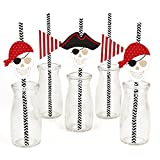 Big Dot of Happiness Beware of Pirates Paper Straw Decor - Pirate Birthday Party Striped Decorative Straws - Set of 24