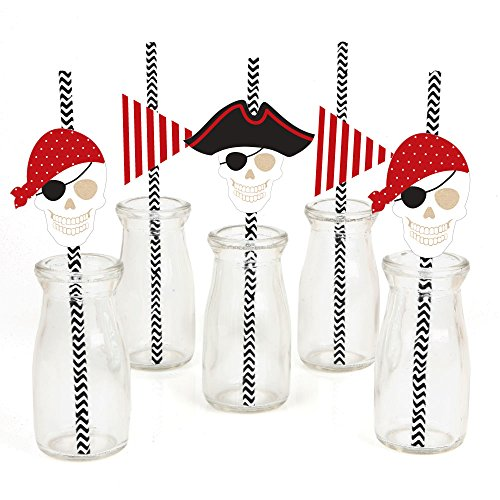 Beware of Pirates Paper Straw Decor - Pirate Birthday Party Striped Decorative Straws - Set of 24 Craft Supplies Straw Hats