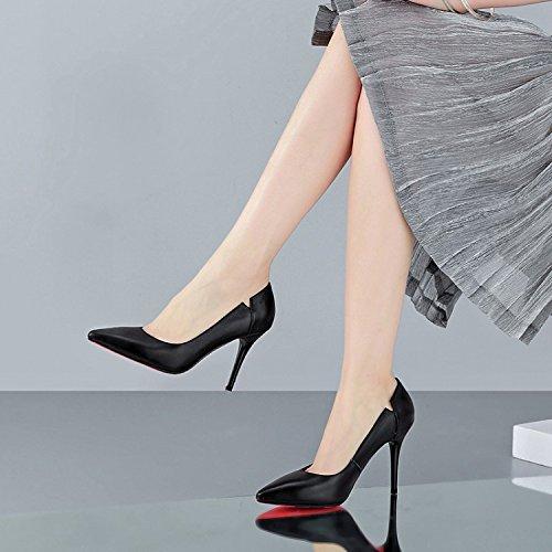 de cm fino 10 alto 36 nueve Treinta AJUNR boca los cabezas y negro señoras tacon superficial zapatos tacon señaló Moda Zapatos Transpirable de zapatos Solo elegante Sandalias BRZFUq