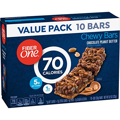 Fiber One 70 Calorie Chocolate Peanut Butter Bars, Snack, 10ct.