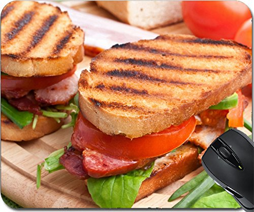 MSD Natural Rubber Mousepad Mouse Pads/Mat design: 31593491 Bacon lettuce and tomato BLT sandwiches with fresh ingredients at back
