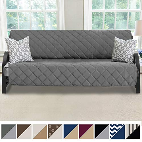 MIGHTY MONKEY Premium Reversible Futon Slipcover, Seat Width to 70 Inch Furniture Protector, 2 Inch Elastic Strap, Washable Slip Cover for Futons, Protects from Kids, Dogs, Futon, Charcoal Light Gray
