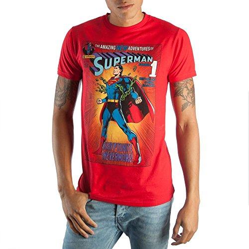Vintage Superman DC Comic Book Cover Artwork Mens Red Graphic Print Boxed Cotton T-Shirt