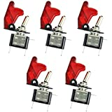 E Support Car Red Cover Red LED Toggle Switch Pack of 5