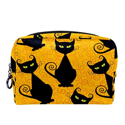 MAPOLO Halloween Black Cats Makeup Bag Toiletry Bag for Women Skincare Cosmetic Handy Pouch Zipper Handbag -