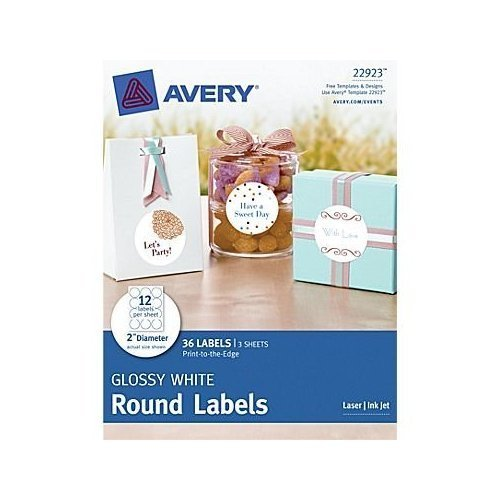 Avery Print-to-the-edge Round Labels 22923, 2-inch Diameter,