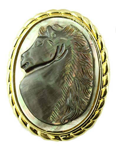 Lilylin Designs Abalone Shell Horse Cameo in Gold Frame Brooch Pin/Pendant
