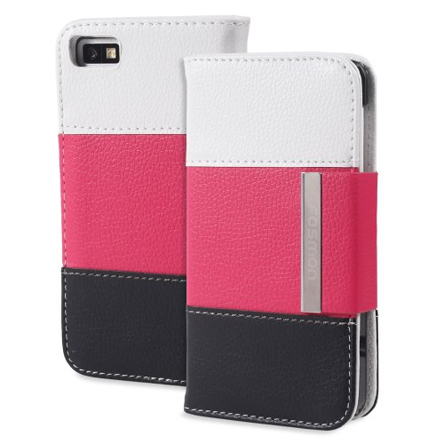 Fosmon CADDY Series Leather Wallet Case for Blackberry Z10 (White, Pink & Black)