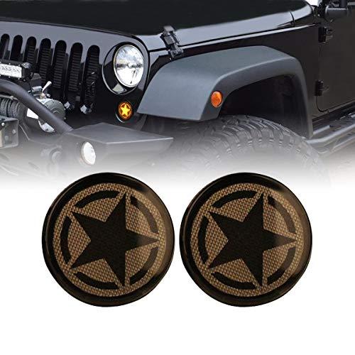 AMERICAN MODIFIED Jeep Wrangler Turn Signal Lights Side Marker Lights Jeep Wrangler Accessories JK JKU & Unlimited Rubicon Sahara Sports,2007-2018(Pair) (Turn Signal Lights, 5 Stars Type)