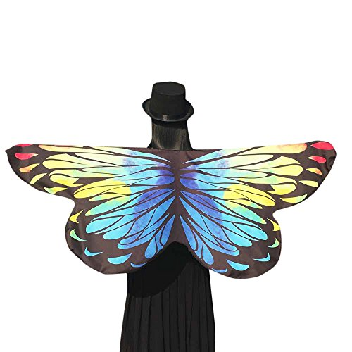 DBHAWK Womens Soft Fabric Butterfly Wings Shawl Scarves Fairy Ladies Nymph Pixie Poncho Costume Accessory