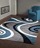 Msrugs Area Rug Classy Traditional Designs Perfect for Living Room and Kitchen, Indoor or Home in Clearance, 8′ L x 10′ W, Blue