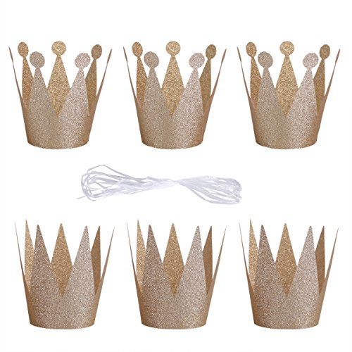 YiZYiF Glitter Birthday Party Prince & Princess Crown Laurel Hats For Adults Kids (Set of 6) (Champagne) - Anniversary Tea Set
