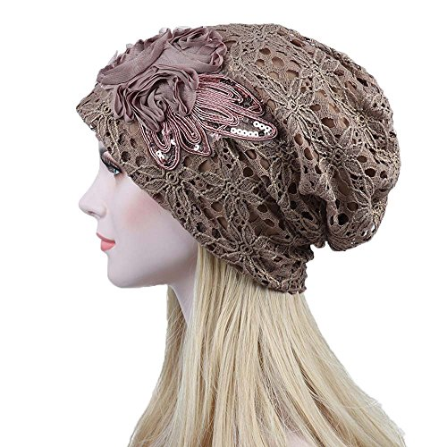 Londony Hats & Caps, Lace Ruffle Floral Chemo Hat Cancer Caps Cotton Winter Beanie Warm Hats for Women from Londony Hats & Caps