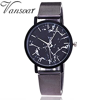 WM & MW Casual Watches for Women,Vintage Marble Quartz Watch Stainless Steel Band Analog Wrist Watches
